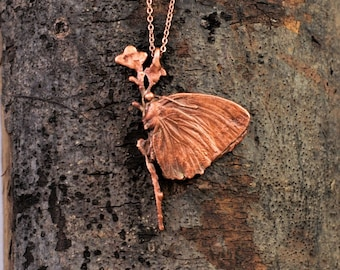 Electroformed Real Butterfly on Flowers Copper Necklace P11