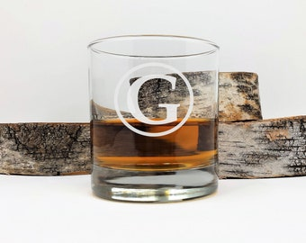 Personalized Whiskey Glass Engraved Monogram Double Old Fashioned