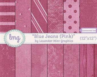 Pink Blue Jean Denim Digital Scrapbooking Paper - Denim Digital Paper, Denim Background - Denim Textures - Instant Download, Commercial Use