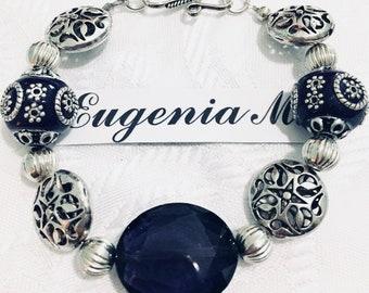 Dark Purple & Silver Filigree Beaded Bracelet by ~EugeniaM~
