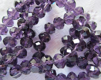 24  Dark Grape Purple Faceted Rondelle Crystal Beads  8mm x 6mm
