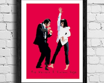 Mia Wallace & Vincent Vega - Pulp Fiction movie poster in various sizes