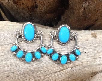 Native America Indian Jewelry Navajo Zuni Hopi Sterling Silver RARE Sleeping Beauty Turquoise Earrings Southwestern Jewelry Petit Point