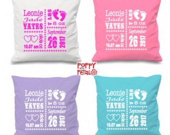 Birth Announcement Pillow, New Baby Girl Gift, Baby Girl Birth Cushion, Personalized Baby Pillow, Baby Shower Gift, Nursery Pillow Cushion