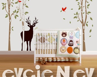 Deer Silhouette - Animals in the Wild Wall Decal - 8 ft Trees Wall Decals - Children Animals Wall Stickdrs - TRSD030