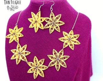 Quilling jewerly - quilling set -quilling flower - flower ~ yellow ~ paper necklace ~paper jewerly ~ quilled earrings ~quilling earrings ~