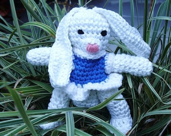 Stuffed Cotton Bunny Rabbit with Blue and White Dress