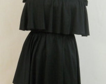 1970s Vintage Black Ruffled Layered Dress