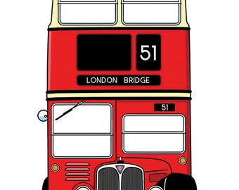 Double Decker London bus T-SHIRT! Classic red London bus, choice of shirt colors, 100% cotton,DTG printed! Original art by Wheels All Over