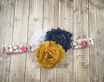 Denim mustard white floral Headband - Newborn Infant Baby Toddler Girls Adult Wedding Spring New Baby