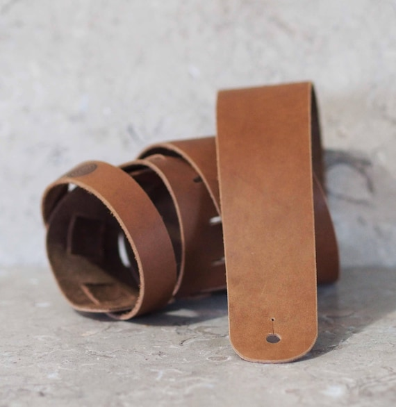 Nutty Brown Leather Guitar Strap