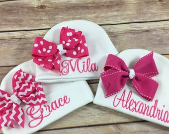 Personalized Baby Beanie Hat HOT PINK CHEVRON Monogrammed Baby Hat Embroidered Monogram Infant Girl Personalized Newborn Baby Shower Gift