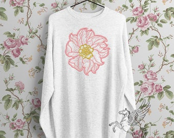 Contour Pink Peony Machine Embroidery Design - 5 sizes