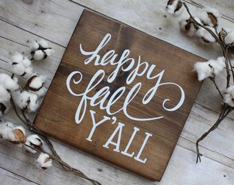 happy fall, y'all wood sign | happy fall wood sign, fall wood decor, rustic fall decor, autumn decor, fall farmhouse sign, wood fall sign
