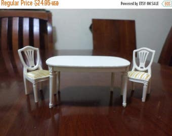 Save 50% Today Vintage Miniature Dollhouse White Table and Chair Set Formal Dining Table Shield Back Chairs Excellent Condition