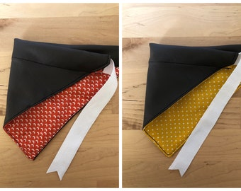 Bandana for cat and dog - faux leather: yellow or orange