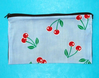LAST ONE! Cherry Delight Blue and Red Rockabilly Printed Zippered Clutch Purse