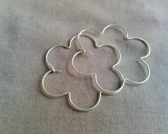 daisy hoop earrings in copper, brass or sterling silver
