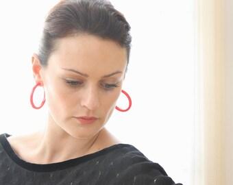 Red Hoop Earrings | Big Cherry Red Hoops | vintage lucite statement hoop earrings | Leetie Lovendale