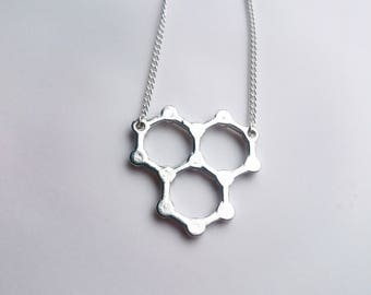 Water Molecule Necklace Silver Tone, Science Jewellery, Chemistry Gift, Molecular Structure, Scientific Present