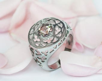 Oringo Rose Ring Insipired by Medieval Cathedral Architecture  Sterling Silver Swarovski Misty Rose Topaz