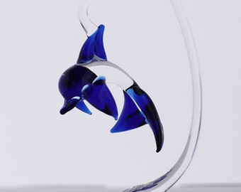 Hand Blown Glass Baby Dolphin with Hanging Stand
