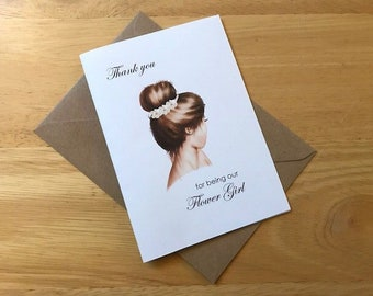 A6 Thank you for being my Maid of Honour, Our Flower Girl, Bridesmaid Card & Envelope
