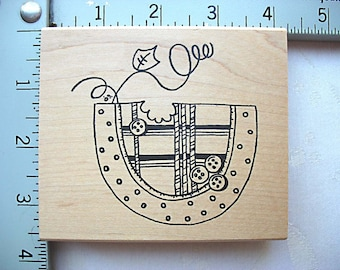 Imaginations Patchwork Plaid Button Watermelon DESTASH Rubber Stamp, Used Rubberstamp