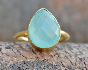 Chalcedony Ring,  Pear Cab Aqua Chalcedony sterling silver ring, Chalcedony 14K Yellow Gold Plated Ring Jewelry