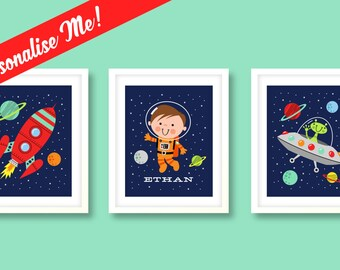 Boys nursery art, boys space print set, space nursery art, rocket nursery prints, boys bedroom, kids room, space print set