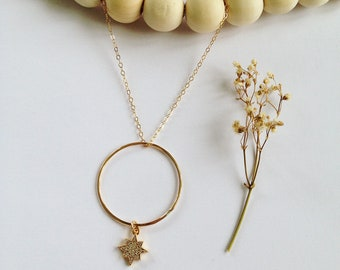 Gold plated chains 14kt - mother-of-pearl pendant on 14kt gold filled hoop