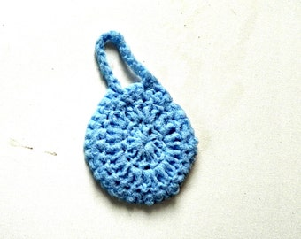 Hanging Scrubber, Light blue pot scouring pad with loop to hang up, Flat style 4 inch diameter, great thank you gift other colors available