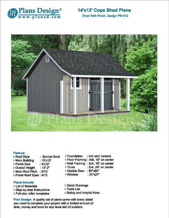 14 x 12 Garden Storage Shed with Porch Plans Blueprints