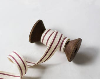 "Burgundy Red + Natural French Stripe Organic Cotton Ribbon (with Wooden Spool) - 5 yards - 5/8"" wide"