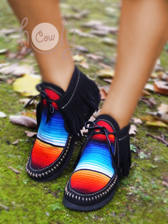 Cowgirl Leather Boots Moccasins Womens Moccasins Moccasins Serape Moccasins Cowgirl Cowgirl Serape Serape Black Moccasins Boots Mens PdH8P