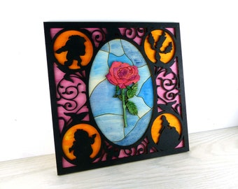 Beauty and the Beast Fairy-tale Rose Wall Plaque Decor Art Wall Hanging