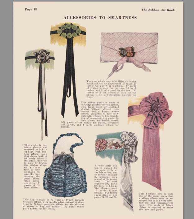 Vintage sewing book 1920s ribbon art ebook how to for rosettes this is a digital file fandeluxe Gallery