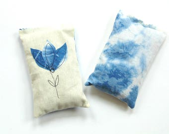 Lavender sachets, rose petals, Shibori indigo tie dyed, scented sachets, drawer freshener, Mothers day gift