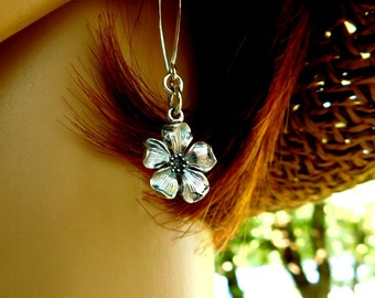 Sterling silver cherry blossom earrings, cherry blossom jewelry, life renewal, spring earrings