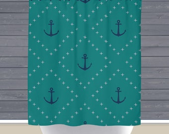 Shower Curtain and More - Teal Navy Anchors Nautical Style | See Dropdown for Pricing and Matching Decor Options