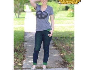 SOS Knit Pants PDF Sewing Patterns for Pirates Straight, Skinny leg, front back pockets, back yoke, Stretch, trouser