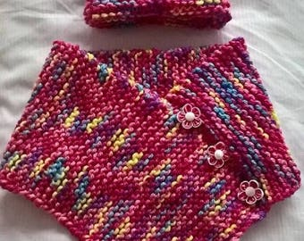 Hand knitted adorable baby girl poncho and hat set in soft chunky wool