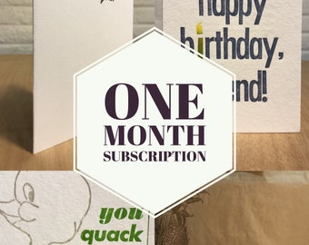 One Month Subscription of Letterpress Cards
