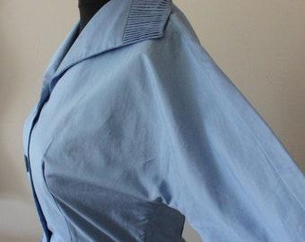 1950's Powder Blue Day Dress / special occasion dress / Shirtdress with Pockets