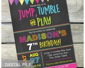"Gymnastics Birthday Chalkboard Invitation Jump Tumble Play Party Pink - DIGITAL Printable Invite - 5"" x 7"""