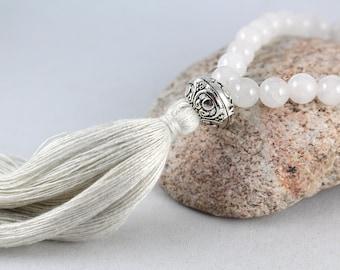 White Quartz Wrist Mala, Mala Bracelet, Tassel Bracelet, Quartz Bracelet, Quartz Mala, Gemstone Bracelet, Wrist Mala, Wedding Jewelry, Yoga