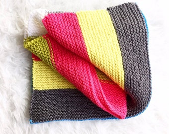 Knitted Baby Blanket, Color Block Baby Blanket, Colorful Baby Blanket, Newborn Baby Shower Gift Idea, New Baby Blankie, Newborn Baby Blanket