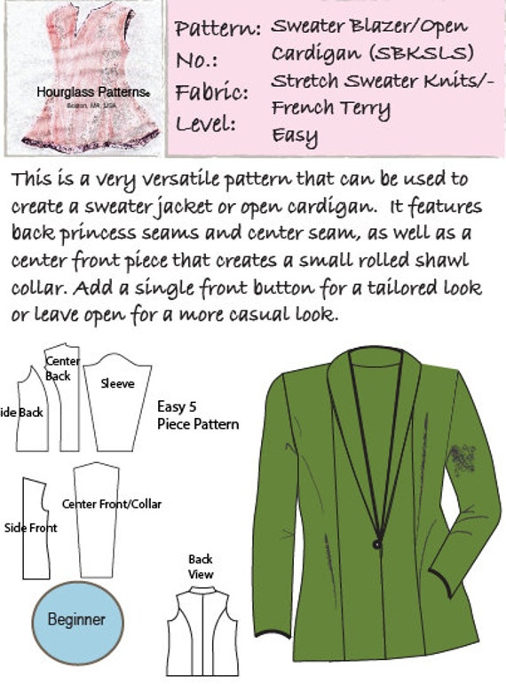 Hourglass Patterns©: Sweater Blazer or Open Cardigan, women\'s ...