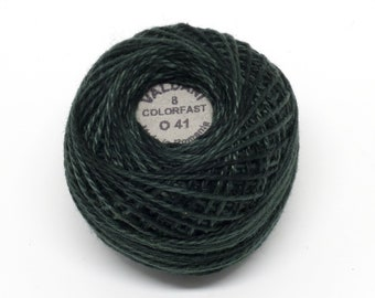 Valdani Pearl Cotton Thread Size 8 Variegated: #O41 Deep Forest Greens