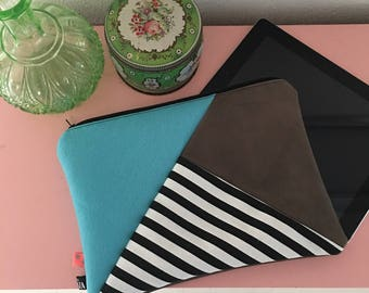 Handmade case for ipad or tablet, Ipadcase, ipad cover, case, recycled leather and felt pouch